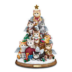 Cat Lovers Tabletop Christmas Decoration Purr-fect Holiday Tree