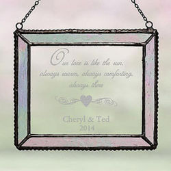 Engraved Iridescent Glass Suncatcher