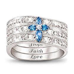 Faith, Hope and Love Diamond and Sapphire Ring