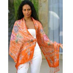 Carnelian Mums Silk Batik Shawl