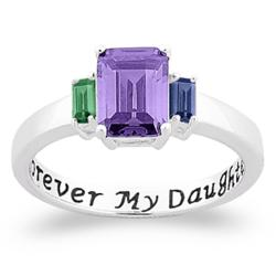 Sterling Silver Forever My Daughter Birthstone Purity Ring