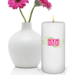 Personalized Round Cheerful Monogram Friendship Candle