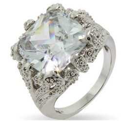 Vintage Style 8 Carat Cushion Cut CZ Right Hand Ring