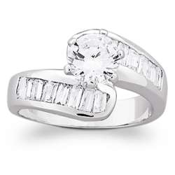 Brilliant Cubic Zirconia & Baguette Twist Wedding Ring