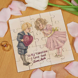 Personalized Be Mine Square Shaped Wood Jigsaw Puzzle