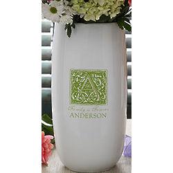Floral Monogram Personalized Ceramic Vase