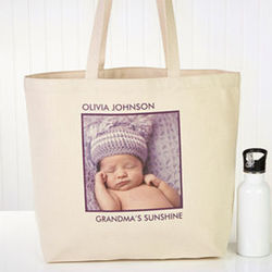 Personalized Square Photo Canvas Tote Bag