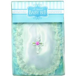 Baby Girl's Baptism Bib with Venise Cross and Pink Rosebud