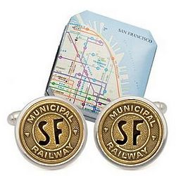San Francisco Subway Cuff Links in Sterling Setting