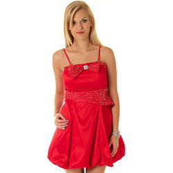 Red Convertible Taffeta Beaded Bubble Party Dress
