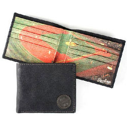 Black Leather Baseball Field Bifold Wallet