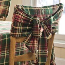 Red and Green Plaid Chair Bow