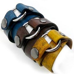 Double Wrap Rustic Leather Unisex Bracelet