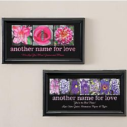 Personalized Mom or Grandma Floral Letter Framed Print