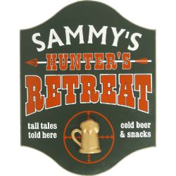 Hunter's Retreat with Mug Personalized Pub Sign