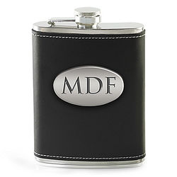 Groomsmen's Personalized Stainless Steel Flask in Black Leather