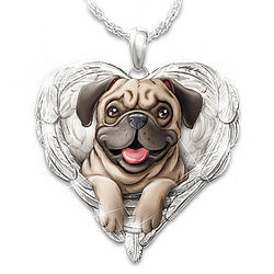 Pugs are Angels Heart-Shaped Pendant