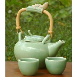 Frog Serenade Ceramic Tea Set for 2