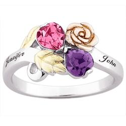 Tri-Color Sterling Silver Couple's Birthstone Heart & Name Ring