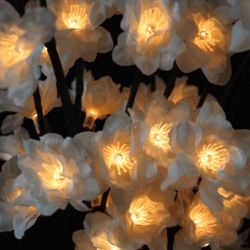 White Lighted Floral Branch