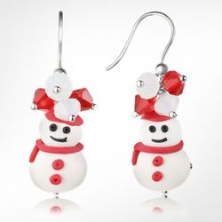 Snowman Pendant Earrings with Crystals