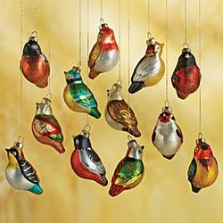 Blown-Glass Chinese Songbird Ornament Set