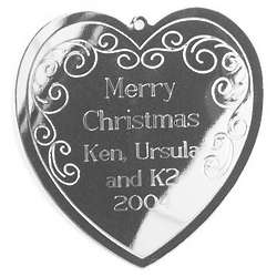 Engraved Silvertone Scrolled Heart Christmas Ornament