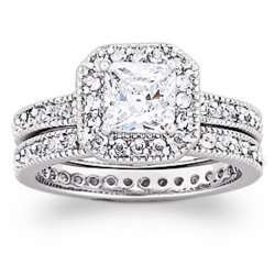 Vintage-Inspired 2 Piece Cubic Zirconia Wedding Ring Set