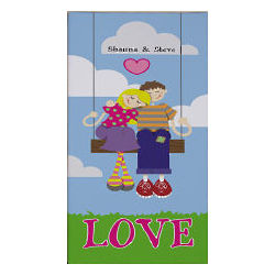 Personalized Couple on Swing Canvas Wall Art