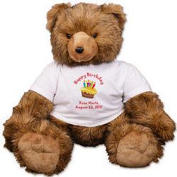 Personalized Happy Birthday Cake Teddy Bear