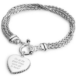 Silver Plated Braided Heart Bracelet