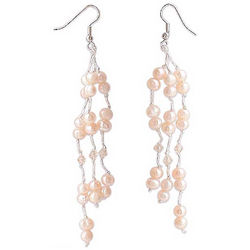 Peach Princess Pearl Waterfall Earrings