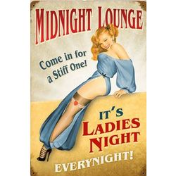 Midnight Lounge Ladies Night Metal Sign