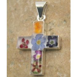 Mexican Sterling Silver Cross with Real Flowers