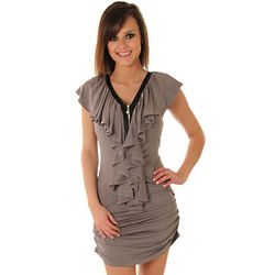 Gray Slinky Shirred Waterfall Ruffle Party Dress