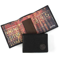 Black Leather Baseball Scorecard Bifold Wallet