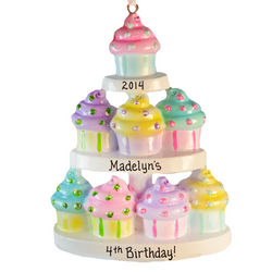 Personalized Happy Birthday Cupcake Tier Ornament