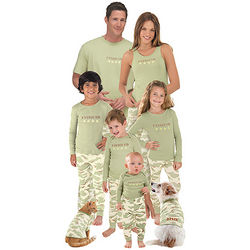 Green Cotton Fatigued Camo Matching Family Pajamas