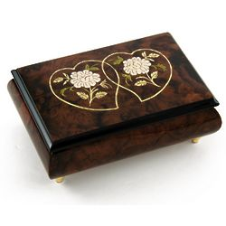 Wood Tone Double Heart and White Roses Music Box