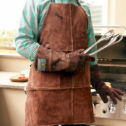 Personalized Branded Leather Apron and Gloves Set