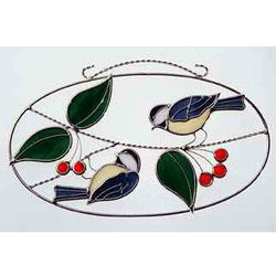 Chickadees Stained Glass Oval Ring