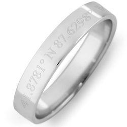 Custom Coordinate 4mm Silver Ring
