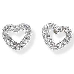 14k White Gold Diamond Stud Heart Earrings