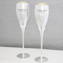 Personalized Silver Plated Toasting Flutes