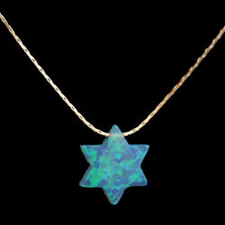 Solid Opal Star of David Necklace