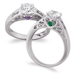 Sterling Silver Couples Name & Birthstone CZ Promise Ring