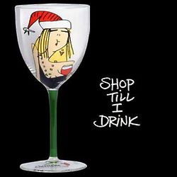 Shop Till I Drink Wine Glass