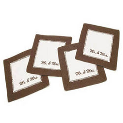 Mr. & Mrs. Linen Coaster Set