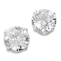 Sterling Silver Round Cut Cubic Zirconia Earrings