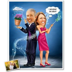 Magic Husband & Wife Caricature from Photos Print